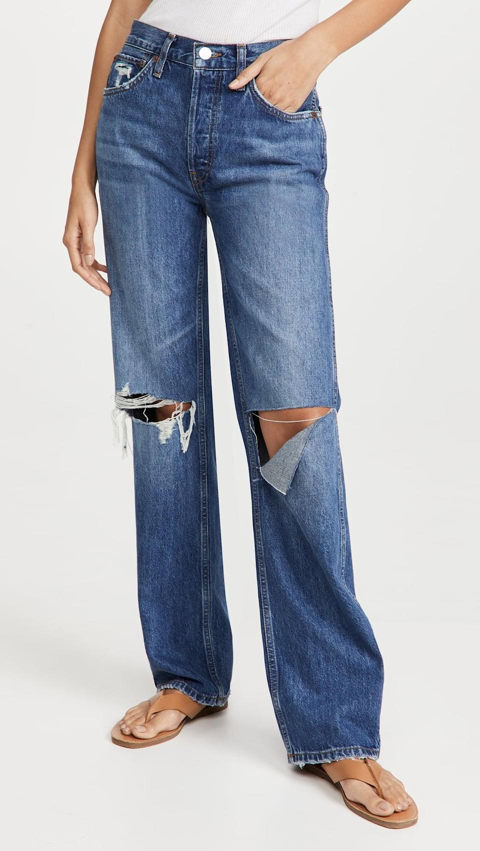 <p>The strategic rips on these <span>Re/Done High-Rise Loose Jeans</span> ($265) are so cool. Plus, the silhouette is going to be a new classic. The looser, straight leg is here to stay.</p>