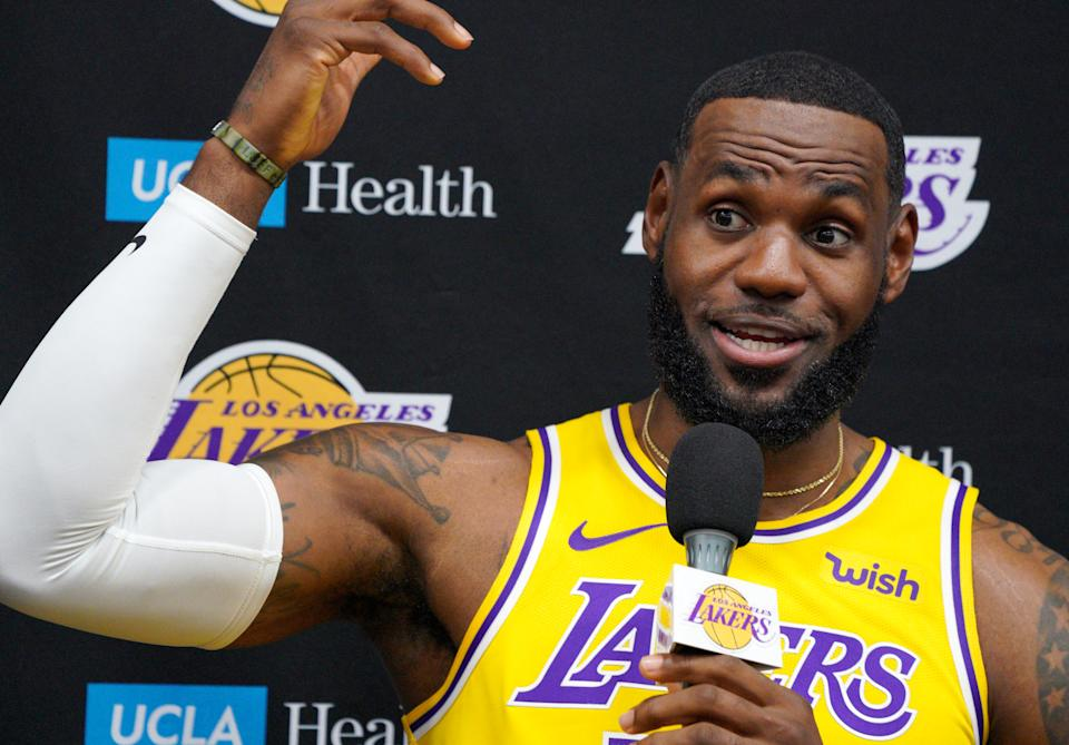"""LeBron James witnessed a momentous occasion when Calif. governor Gavin Newsom stopped by """"The Shop"""" to sign SB206 into law. (Photo by Scott Varley/MediaNews Group/Torrance Daily Breeze via Getty Images)"""