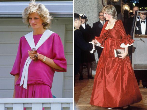 PHOTO: Diana, The Princess of Wales, is pictured in Windsor on July 29, 1984 and at an event in London, wearing a red David Sassoon maternity gown on March 30, 1982. (UK Press/Anwar Huseein/Getty Images)
