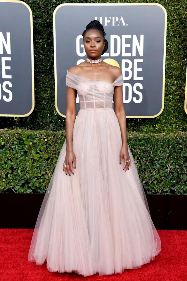 <i>If Beale Street Could Talk</i> star KiKi Layne wears a gauzy pink number for her Golden Globes red carpet debut. (Photo: Getty Images)
