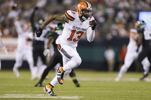 Cleveland Browns wide receiver Odell Beckham broke an 89-yard touchdown against the Jets. (AP)