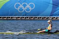 <p>Kimberley Brennan of Australia competes in the Women's Single Sculls Final A on Day 8 of the Rio 2016 Olympic Games at the Lagoa Stadium on August 13, 2016 in Rio de Janeiro, Brazil. (Photo by Buda Mendes/Getty Images) </p>
