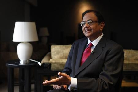 India's Finance Minister P. Chidambaram speaks during an interview with Reuters at a hotel during his visit for the G20 meeting in Mexico City