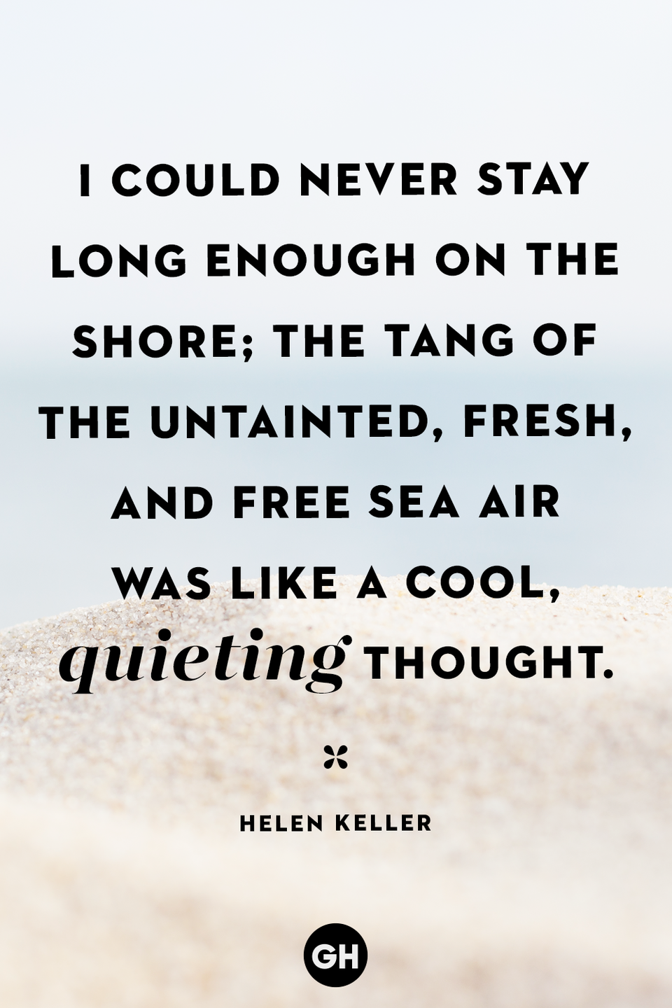 <p>I could never stay long enough on the shore; the tang of the untainted, fresh, and free sea air was like a cool, quieting thought.</p>