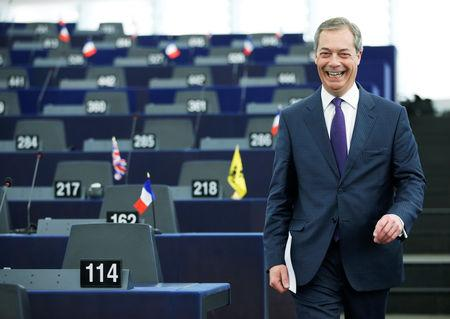 FILE PHOTO: Brexit campaigner and Member of the European Parliament Nigel Farage arrives to attend a debate on the outcome of the latest European Summit on Brexit, at the European Parliament in Strasbourg, France, April 16, 2019. REUTERS/Vincent Kessler