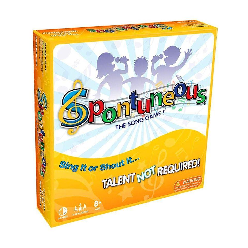"""<p><strong>Spontuneous</strong></p><p>amazon.com</p><p><strong>$29.99</strong></p><p><a href=""""https://www.amazon.com/dp/B004LO2AIG?tag=syn-yahoo-20&ascsubtag=%5Bartid%7C2089.g.985%5Bsrc%7Cyahoo-us"""" rel=""""nofollow noopener"""" target=""""_blank"""" data-ylk=""""slk:Shop Now"""" class=""""link rapid-noclick-resp"""">Shop Now</a></p><p>This family board game belongs in every home. Not only will everyone have a blast getting goofy, but the time spent playing this game doubles as an opportunity for kids to build confidence when it comes to expression, creativity, and improv.</p>"""