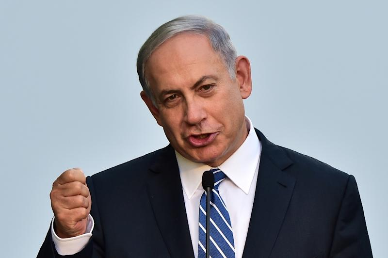 Israeli Prime Minister Benjamin Netanyahu delivers a speech during a visit at the Universal Exhibition 2015 in Milan on August 27, 2015