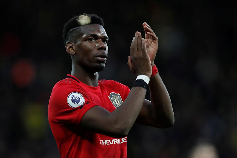"Soccer Football - Premier League - Watford v Manchester United - Vicarage Road, Watford, Britain - December 22, 2019 Manchester United's Paul Pogba applauds fans after the match Action Images via Reuters/Paul Childs EDITORIAL USE ONLY. No use with unauthorized audio, video, data, fixture lists, club/league logos or ""live"" services. Online in-match use limited to 75 images, no video emulation. No use in betting, games or single club/league/player publications. Please contact your account representative for further details."