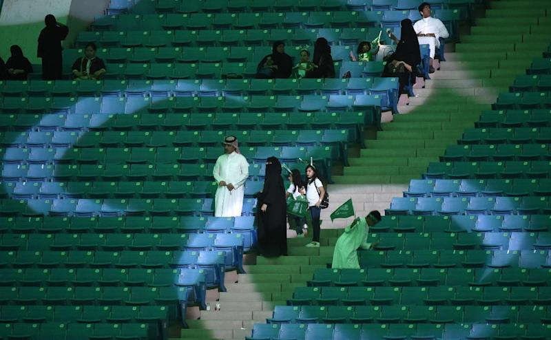 Families arrive at a stadium in the Saudi capital Riyadh on September 23, 2017 to attend an event commemorating the anniversary of the kingdom's founding (AFP Photo/Fayez NURELDINE)