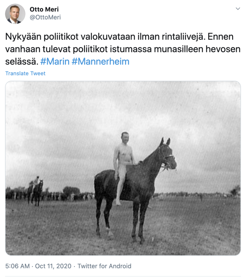 Even stranger, perhaps, former Finnish military leader and statesman Carl Gustaf Mannerheim can also be seen in a photo riding a horse bareback while naked. Photo: Twitter