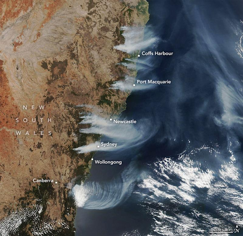 A satellite image showing fires burning near the NSW and Queensland coast line on December 4.