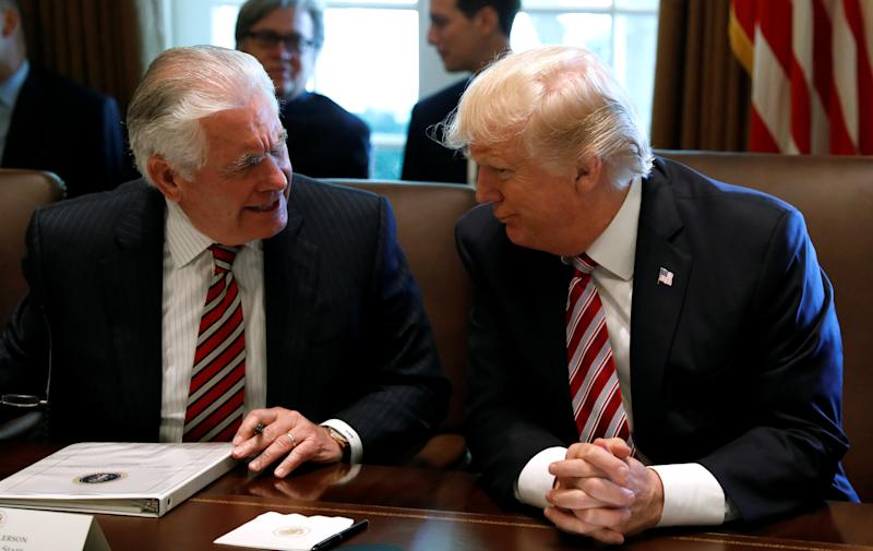 President Donald Trump and Tillerson during a meeting on June 12. (Kevin Lamarque/Reuters)
