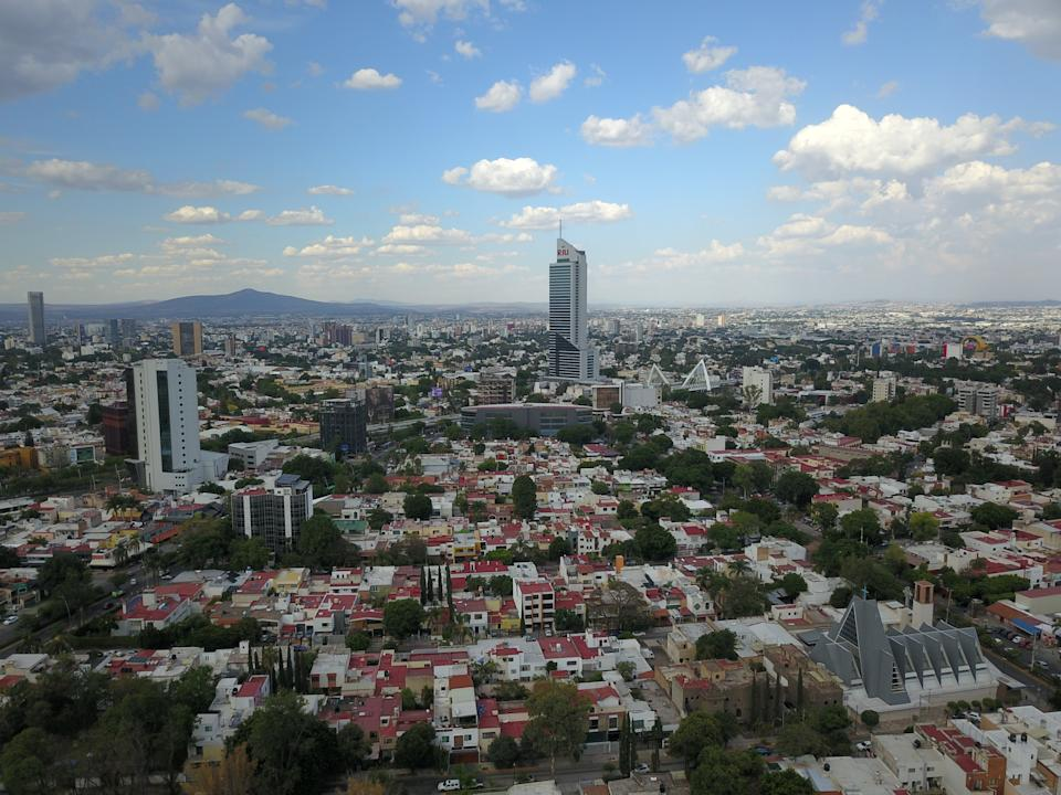 Aerial view in the city of Guadalajara in the Chapalita neighborhood, you can see the Matute Remus bridge and the Riu hotel