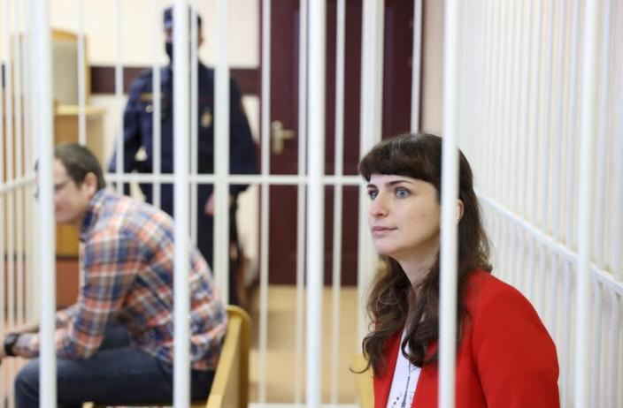 FILE PHOTO: Journalist Katerina Borisevich and doctor Artyom Sorokin attend a court hearing in Minsk