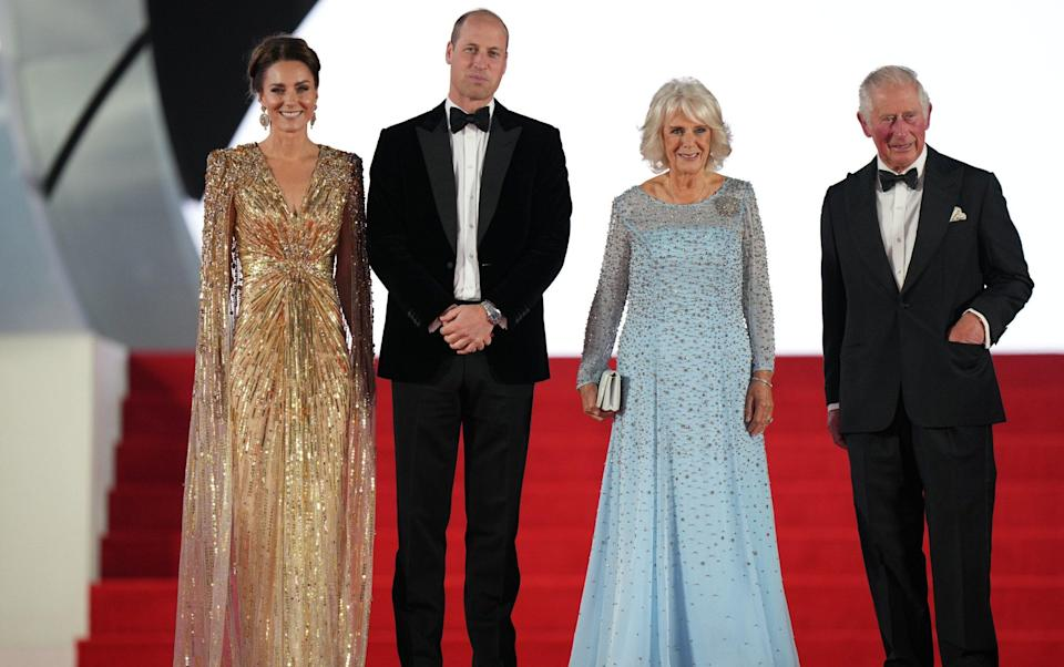 The Duke and Duchess of Cambridge, the Duchess of Cornwall and the Prince of Wales arrive at the world premiere of No Time to Die