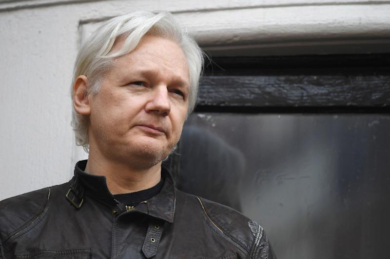 The Guardian cited sources as saying Paul Manafort went to see Julian Assange, pictured in May 2017, in 2013, 2015 and then in the spring of 2016