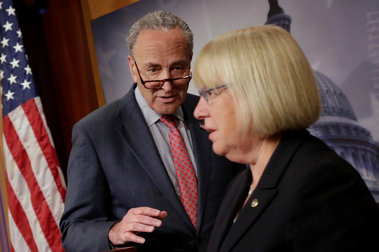 U.S. Senate Minority Leader Chuck Schumer (D-NY) and Sen. Patty Murray (D-WA) hold a news conference to discuss CBO score of Senate Republican health care discussion draft on Capitol Hill in Washington, U.S., June 26, 2017. REUTERS/Yuri Gripas