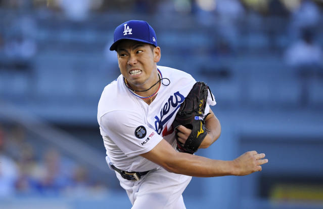 Los Angeles Dodgers starting pitcher Kenta Maeda, of Japan, throws to the plate during the first inning of a baseball game against the Arizona Diamondbacks, Saturday, Aug. 10, 2019, in Los Angeles. (AP Photo/Mark J. Terrill)