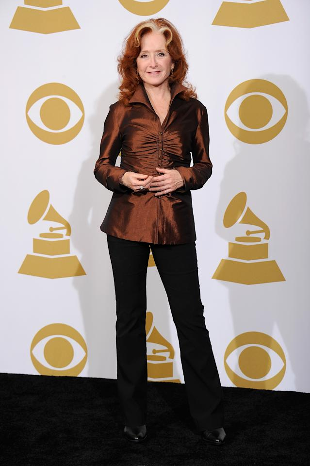 LOS ANGELES, CA - FEBRUARY 12:  Singer Bonnie Raitt poses in the press room at the 54th Annual GRAMMY Awards at Staples Center on February 12, 2012 in Los Angeles, California.  (Photo by Kevork Djansezian/Getty Images)