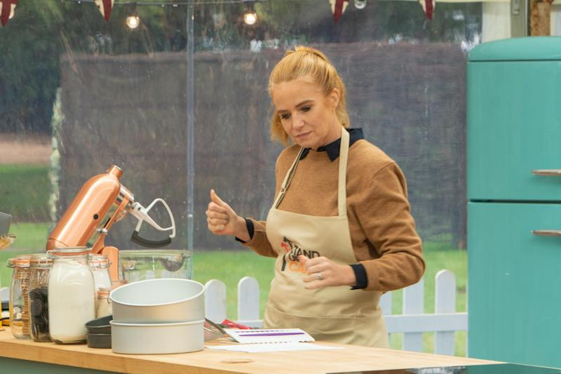 Paul Hollywood told Patsy Palmer her sponge was like cardboard. (Channel 4/Mark Bourdillon)