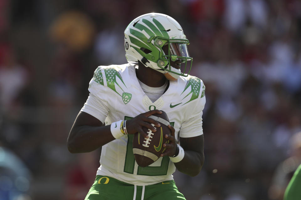 Oregons' Anthony Brown throws against Stanford during the first half of an NCAA college football game in Stanford, Calif., Saturday, Oct. 2, 2021. (AP Photo/Jed Jacobsohn)