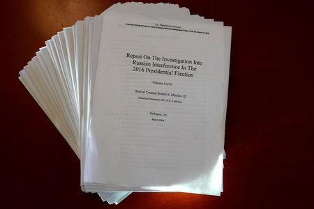 The Muller Report on the Investigation into Russian Interference in the 2016 Presidential Election is pictured in New York