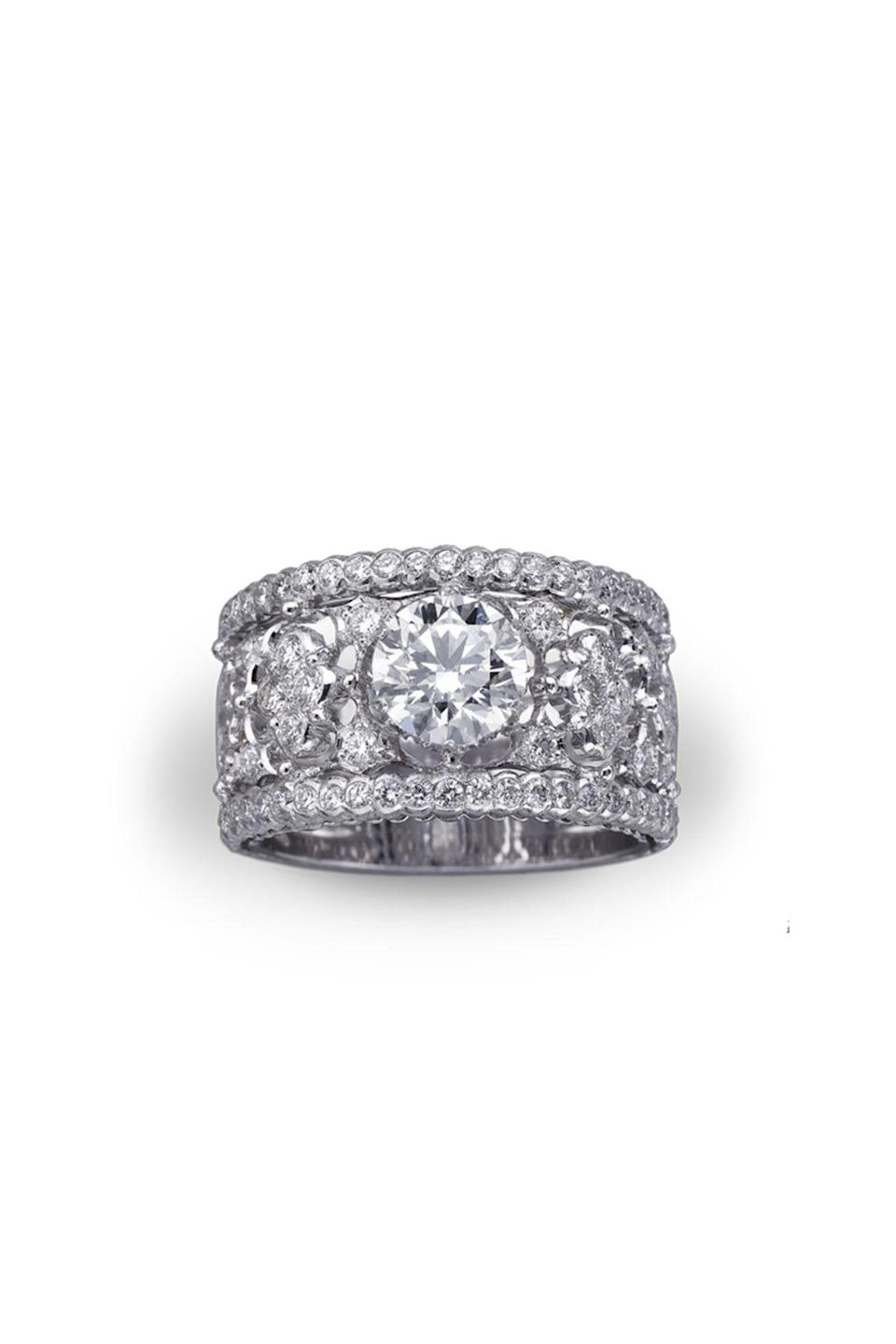 """<p><strong>Buccellati</strong></p><p>buccellati.com</p><p><a href=""""https://us.buccellati.com/en/bridal/romanza/carlotta-ring"""" rel=""""nofollow noopener"""" target=""""_blank"""" data-ylk=""""slk:Shop Now"""" class=""""link rapid-noclick-resp"""">Shop Now</a></p><p>A beautiful option for the bride-to-be that is looking for the perfect vintage style. A multi-band silhouette provides all the needed sparkle!</p>"""