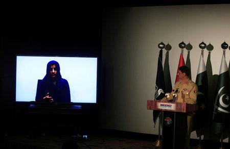Noreen Leghari, a would-be Islamic State female suicide bomber, is seen in a video confession shown during a news conference in Rawalpindi