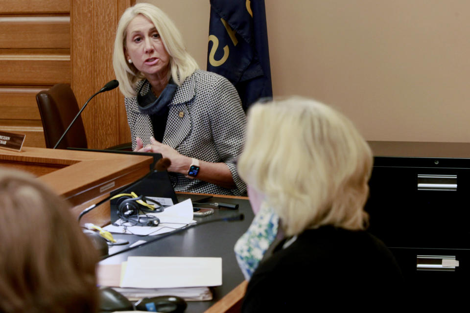 Kansas state Sen. Renee Erickson, R-Wichita, answers a question as a Senate committee debates her proposal to bar transgender students from girls' and women's school sports, Tuesday, March 16, 2021, at the Statehouse in Topeka, Kan. Erickson is a former college basketball player and says her bill will promote fair competition. (AP Photo/John Hanna)