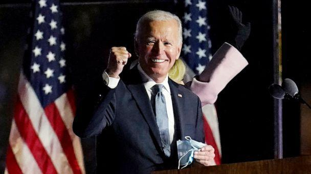 PHOTO: Democratic presidential candidate former Vice President Joe Biden speaks to supporters, Nov. 4, 2020, in Wilmington, Del. (Paul Sancya/AP, FILE)