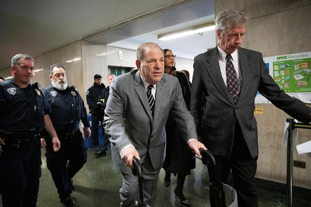 Harvey Weinstein arrives at court for his sex-crimes trial, Jan. 31, 2020 in New York.