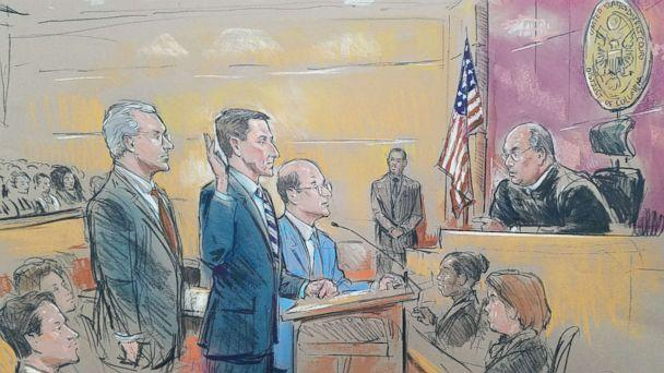 PHOTO: Courtroom sketch showing former National Security Adviser Michael Flynn standing between his two lawyers today as he appeared before Federal Judge Rudolph Contreras during his appearance in court. (William Hennessy Jr)