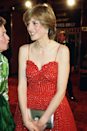 <p>Spaghetti straps aren't something we tend to associate with royals but before she was officially Princess of Wales, Diana wore this stunning cherry red dress with a matching ruby necklace for the premiere of For Your Eyes Only in Leicester Square.</p>