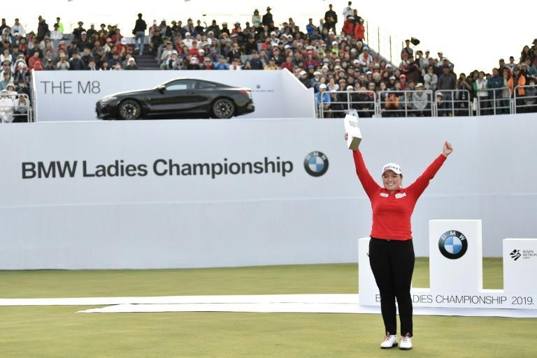 South Korea's Jang Ha-na celebrates winning the BMW Ladies Championship in Busan in October last year. This year's tournament, along with all LPGA events in Asia, has been cancelled because of the coronavirus
