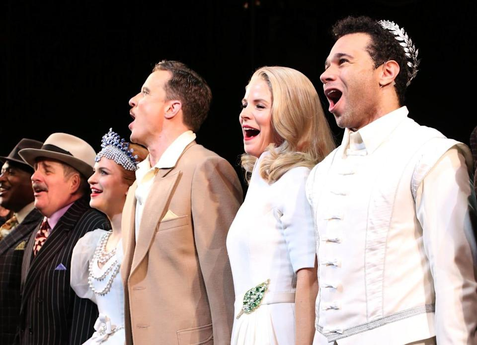 """<div class=""""inline-image__caption""""><p>John Pankow, Stephanie Styles, Will Chase, Kelli O'Hara and Corbin Bleu at the Broadway Opening Night Curtain Call for <em>Kiss Me, Kate</em> at Studio 54, New York City, on March 14, 2019.</p></div> <div class=""""inline-image__credit"""">Walter McBride/Getty</div>"""
