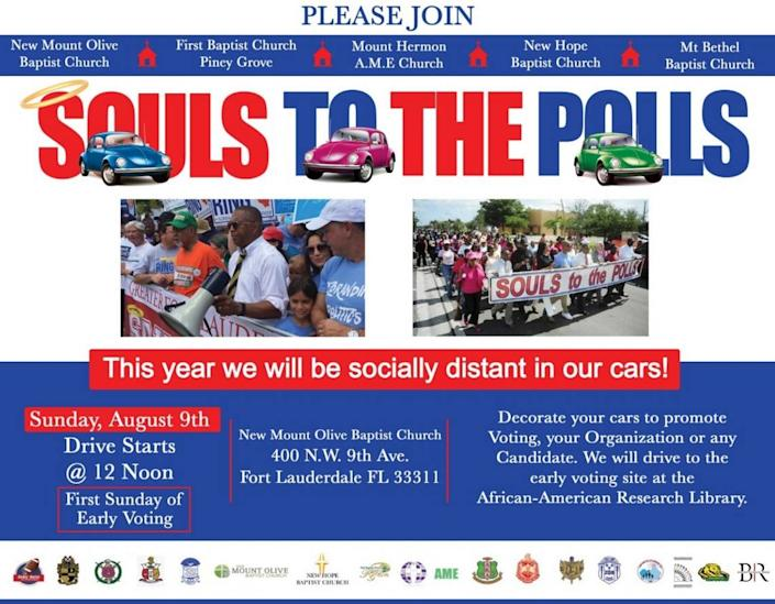 An advertisement promoting Souls to the Polls in Broward Count Aug. 9, 2020.