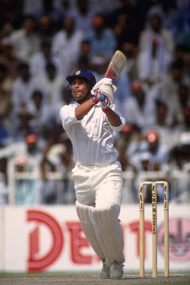 Oct 1991:  Sachin Tendulkar of India in action during the Sharjah tournament.