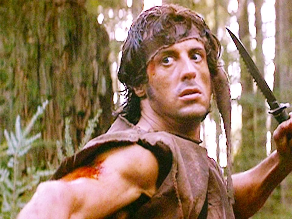"""LOS ANGELES - OCTOBER 2: The movie """"First Blood"""", directed by Ted Kotcheff. (Alternatively referred to as Rambo: First Blood).  Based on David Morrell's novel of the same name.  Seen here, Sylvester Stallone as John Rambo.  Initial theatrical release October 2, 1982. Screen capture. Paramount Pictures. (Photo by CBS via Getty Images)"""