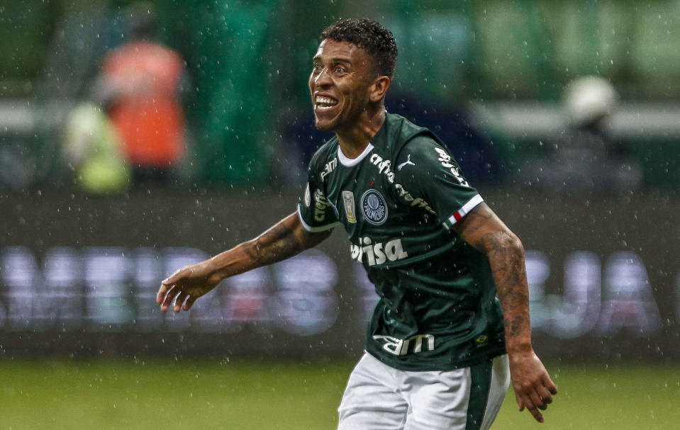SAO PAULO, BRAZIL - APRIL 28: Marcos Rocha of Palmeiras celebrates after scoring the third goal of his team during a match between Palmeiras and Fortaleza at Allianz Parque on April 28, 2019 in Sao Paulo, Brazil. (Photo by Miguel Schincariol/Getty Images)