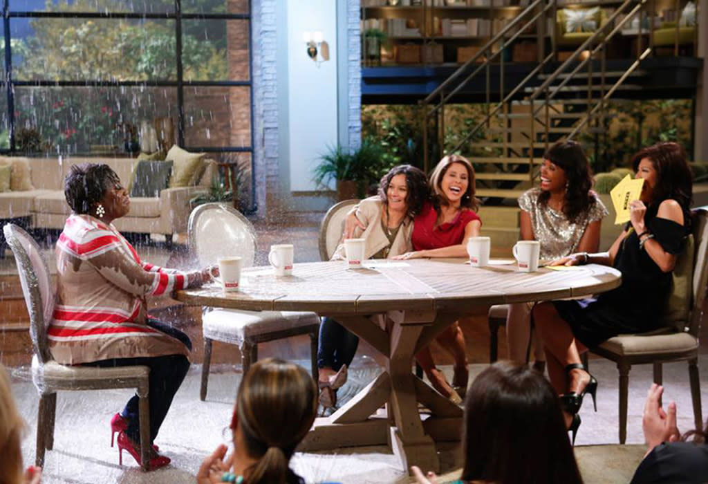 "Stormy weather hit ""The Talk"" this week, but somehow, only Sheryl Underwood was affected ... and her fellow hosts clearly didn't feel too sorry for her! (6/5/2013)"