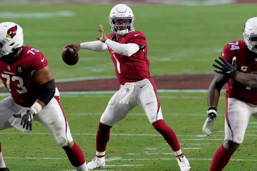Arizona Cardinals quarterback Kyler Murray (1) throws against the Philadelphia Eagles during the second half of an NFL football game, Sunday, Dec. 20, 2020, in Glendale, Ariz. (AP Photo/Ross D. Franklin)