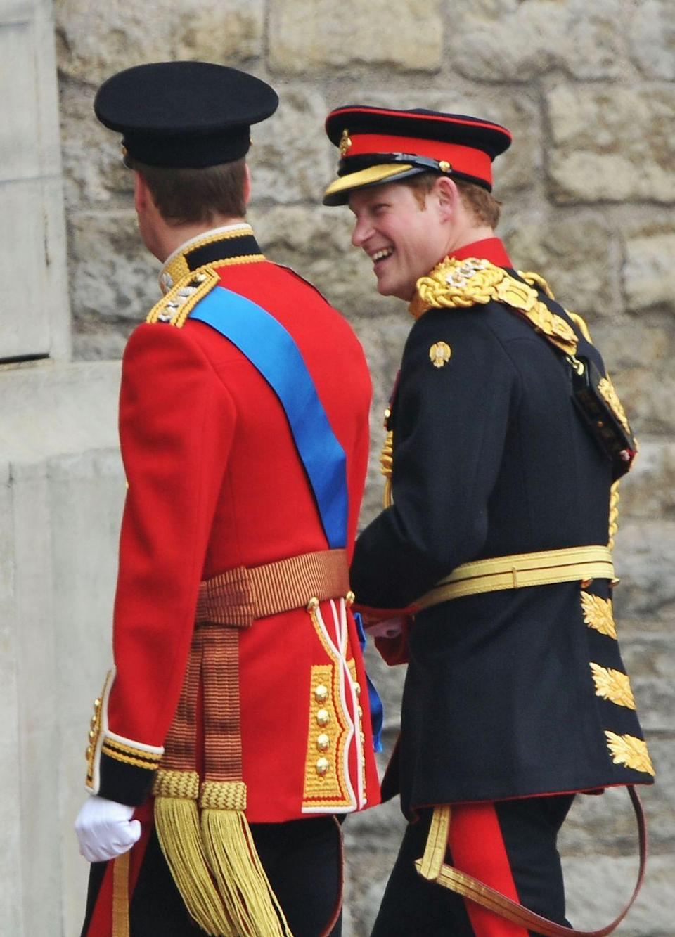 """<p>In an effort to get the party started, Prince Harry <a href=""""http://www.dailymail.co.uk/news/article-1384720/Prince-Harry-Was-3am-balcony-leap-reason-Harry-looked-par-Royal-Wedding.html"""" rel=""""nofollow noopener"""" target=""""_blank"""" data-ylk=""""slk:reportedly"""" class=""""link rapid-noclick-resp"""">reportedly</a> stayed up until 3 a.m. the night before his brother's royal wedding, and also casually jumped off a veranda balcony at the Goring Hotel—injuring his foot in the process. IS THERE NOTHING THIS MAN WON'T DO IN THE NAME OF FUN?</p>"""