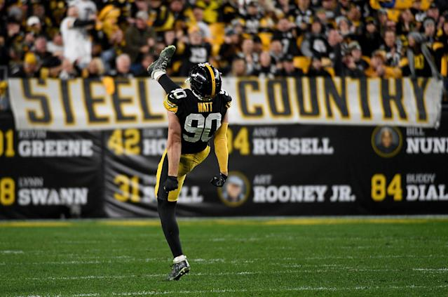 T.J. Watt of the Steelers celebrates after a big play in a win over the Rams. (Photo by Justin Berl/Getty Images)