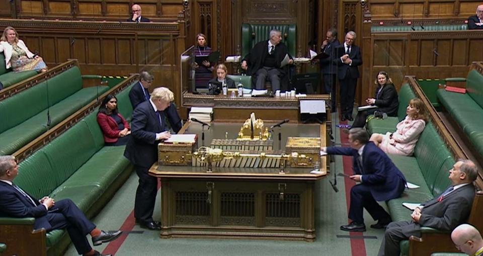 <p>Boris Johnson speaks during Prime Minister's Questions in the House of Commons</p>PA