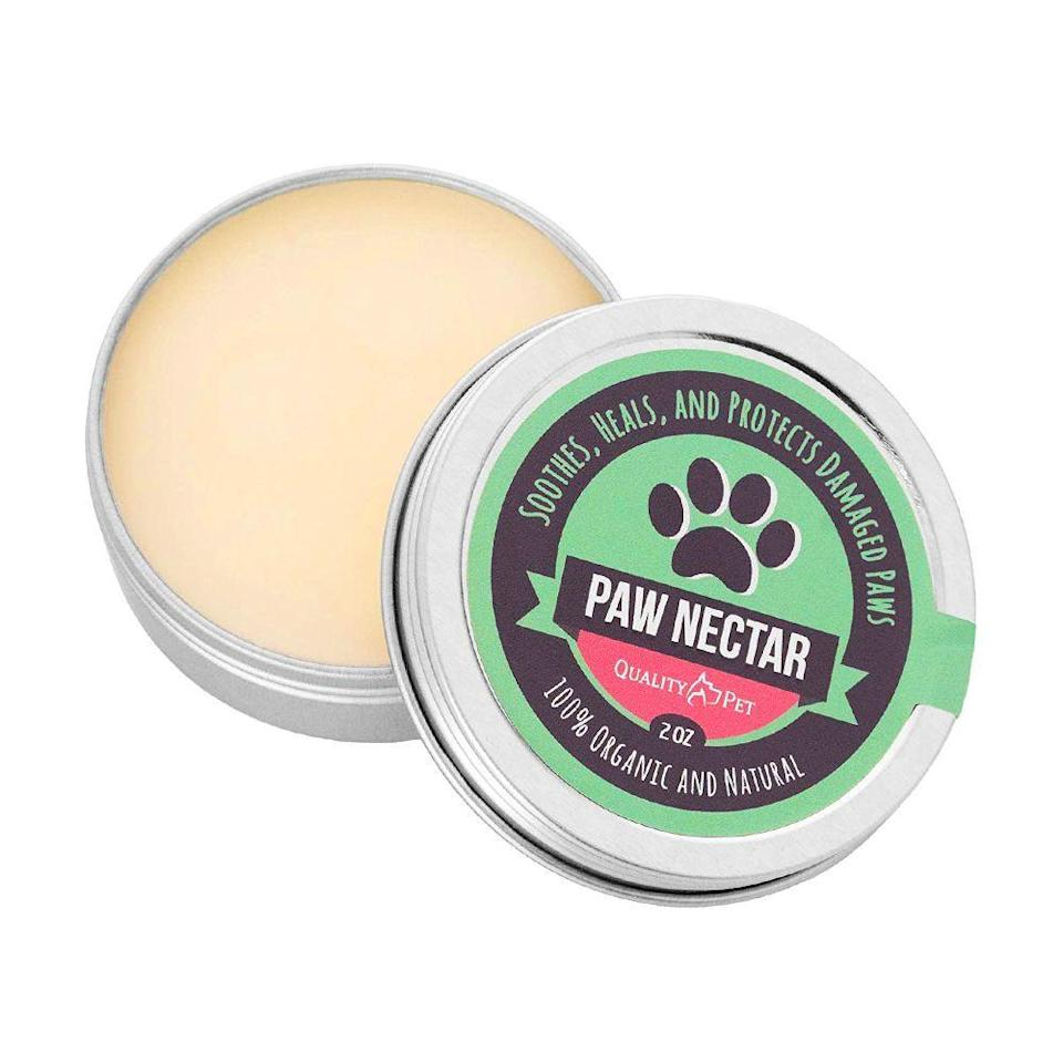 """<p><strong>Paw Nectar</strong></p><p>amazon.com</p><p><strong>$16.99</strong></p><p><a href=""""https://www.amazon.com/dp/B01MSN3ZLW?tag=syn-yahoo-20&ascsubtag=%5Bartid%7C2089.g.291%5Bsrc%7Cyahoo-us"""" rel=""""nofollow noopener"""" target=""""_blank"""" data-ylk=""""slk:Shop Now"""" class=""""link rapid-noclick-resp"""">Shop Now</a></p><p>Just like humans, dogs get chapped skin, but on the bottoms of their paws. Before taking them out in the wintry weather, protect their paws from cracking by smearing some of this natural wax on their pads. </p><p>The formula (made of coconut oil, shea butter, vitamin E, and lavender oil) also helps heal damaged paws, and it's safe for owners to use on their hands. It's also scent-free, so your dog won't immediately lick the formula right off!</p>"""