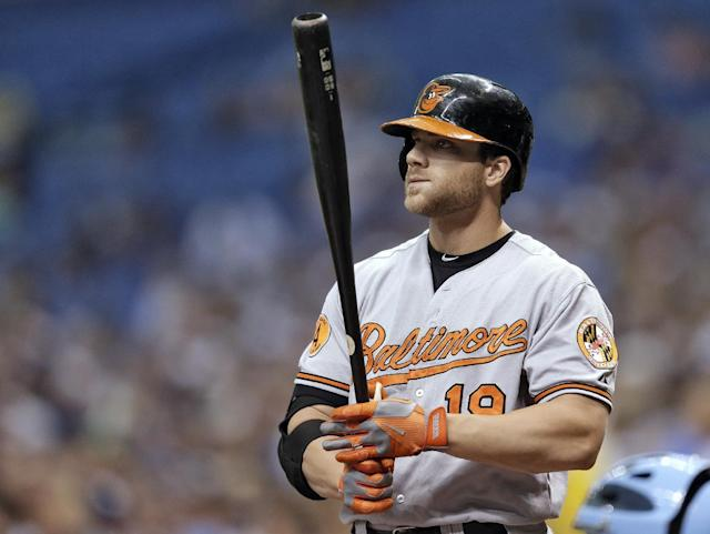 In this Sept. 23, 2013, photo, Baltimore Orioles' Chris Davis bats during a baseball game against the Tampa Bay Rays in St. Petersburg, Fla. Davis and the Orioles agreed to a $10.35 million deal Friday, Jan. 17, 2014. (AP Photo/Chris O'Meara)