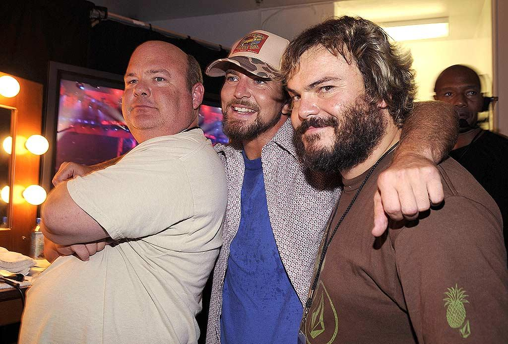 "It's a Pearl Jam sandwich! Tenacious D's Kyle Gass (left) and Jack Black (right) put the squeeze on Eddie Vedder. Kevin Mazur/<a href=""http://www.wireimage.com"" target=""new"">WireImage.com</a> - July 12, 2008"