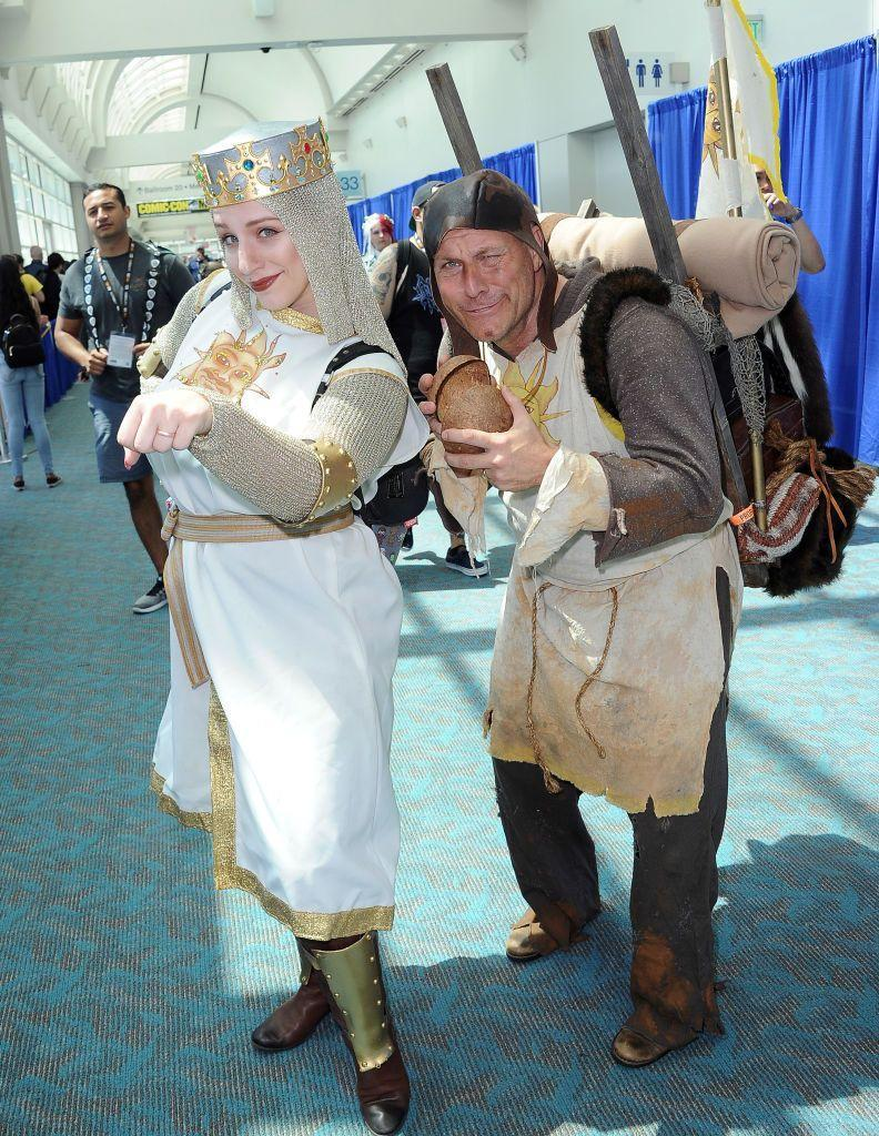 """<p>Become King Arthur and Patsy from <em>Monty Python and the Holy Grail </em>with your best medieval garb. Don't forget your coconuts!</p><p><a class=""""link rapid-noclick-resp"""" href=""""https://www.amazon.com/SaKeGa-Medieval-Teutonic-Crusader-Renaissance/dp/B08K95FV1Q/?tag=syn-yahoo-20&ascsubtag=%5Bartid%7C10070.g.23122163%5Bsrc%7Cyahoo-us"""" rel=""""nofollow noopener"""" target=""""_blank"""" data-ylk=""""slk:SHOP TUNICS"""">SHOP TUNICS</a></p>"""
