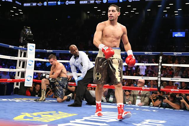 Danny Garcia walks to his corner after knocking down Rod Salka in August. (Getty)