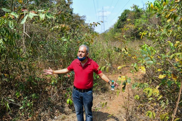 Activist Julio Aguiar gestures on a stretch of land beneath power transmission lines cutting through the Mollem National Park